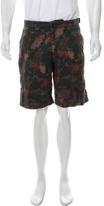 Dries Van Noten Camo Flat Front Shorts