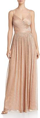 Laundry by Shelli Segal Crossover-Front Metallic Pleated Gown