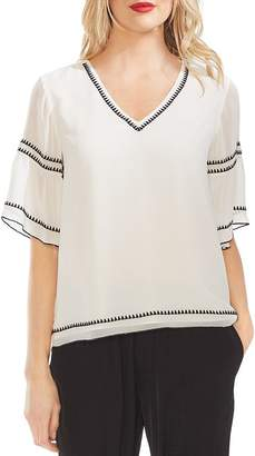 Vince Camuto Embroidered Chiffon Blouse