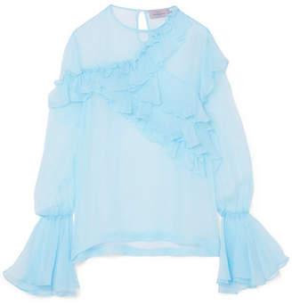 Preen by Thornton Bregazzi Marika Ruffled Silk-chiffon Blouse - Sky blue