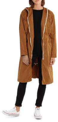 Nude Lucy NEW Patti Long Line Windbreaker NU23065 Tan