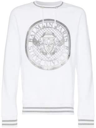 Balmain white Coin logo print jumper