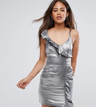 Asos Tall TALL NIGHT Silver 80s Ruffle Mini Dress