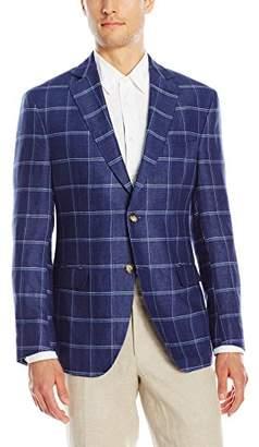 Franklin Tailored Men's Summer Delave Linen Windowpane Newton Sport Coat