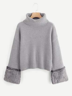 Shein Turtle Neck Faux Fur Cuff Sweater