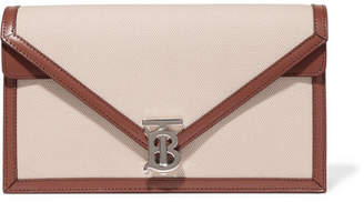 Burberry Leather-trimmed Canvas Clutch - Beige