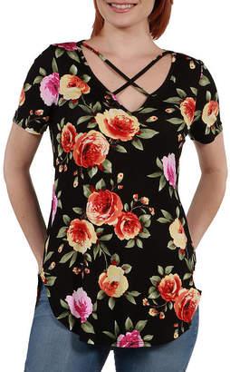 24/7 Comfort Apparel 24Seven Comfort Apparel Meg Black Floral Tunic Top