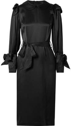 Simone Rocha Bow-embellished Silk-satin Dress - Black