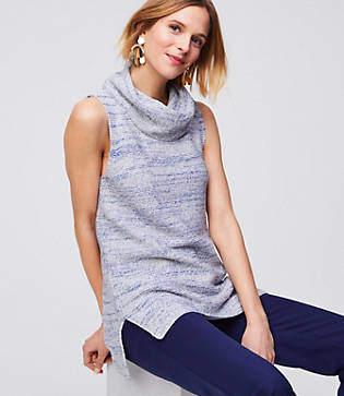 LOFT Petite Cowl Sleeveless Tunic Sweater
