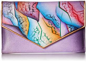 Anuschka Anchka Women's Genuine Leather Checkbook Wallet | Hand painted Original Artwork | Floating Feathers Ivory