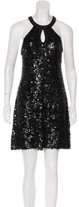 Sue Wong Silk Sleeveless Sequin Mini Dress