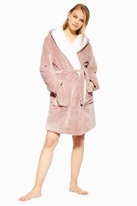 Topshop Womens Geometric Teddy Hooded Dressing Gown - Mink