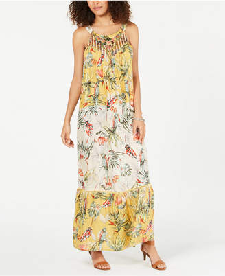 Style&Co. Style & Co Printed Embroidered Maxi Dress