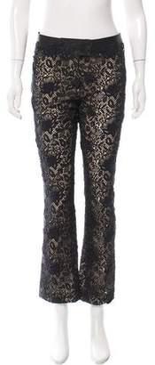 Valentino Crochet-Paneled Leather Pants