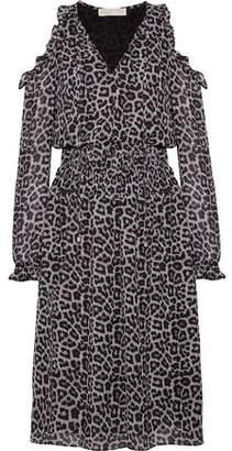 MICHAEL Michael Kors Cold-Shoulder Ruffled Printed Crepe Dress
