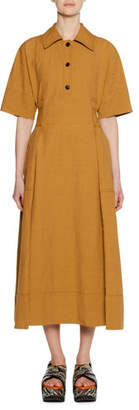 Marni Short-Sleeve 3-Button Self-Belt Ankle-Length Cotton-Linen Dress