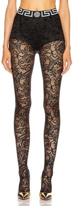 Versace All Over Lace Tights in Black | FWRD