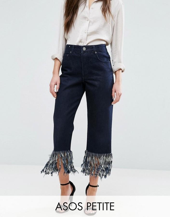 AsosASOS Petite ASOS PETITE Authentic Straight Leg Jeans in James Wash with Fringe Hem
