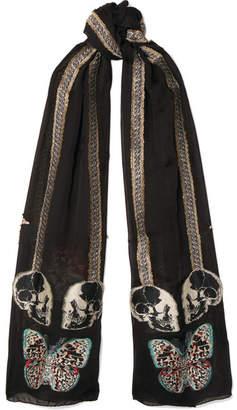 Alexander McQueen Fil Coupé Silk-blend Scarf - Black