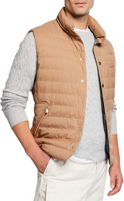 Brunello Cucinelli Men's Snap Vest with Removable Hood