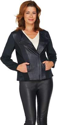 Halston H By H by Croco Embossed Faux Suede Motorcycle Jacket