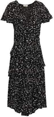Joie Orita Wrap-effect Ruffled Floral-print Crepe Dress