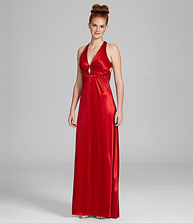 B. Darlin Satin Cutout Gown