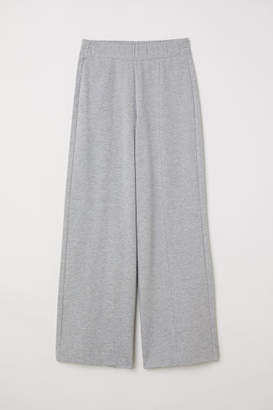 H&M Wide-cut Jersey Pants - Gray