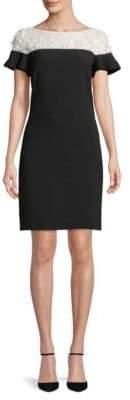 Karl Lagerfeld Paris Lace-Trimmed Shift Dress