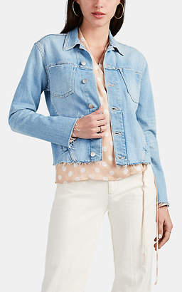 L'Agence Women's Janelle Frayed-Edge Denim Jacket - Lt. Blue