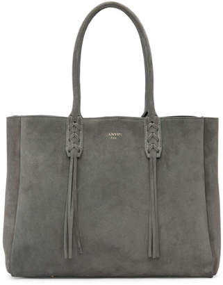 Lanvin Grey Small Suede Shopper Tote