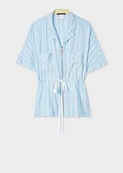 Women's Light Blue Stripe Silk Short-Sleeve Zip Shirt
