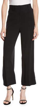 Diane von Furstenberg High-Waist Crepe Cuffed Culotte Pants