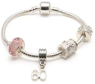 Parfait Liberty Charms Age 60 'Pink Parfait' Silver Plated Sparkle Charm/Bead Bracelet