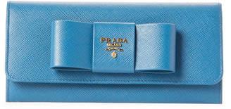 Prada Blue Bow Saffiano Leather Flap Wallet