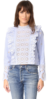Sea Exploded Eyelet Ruffle Top $345 thestylecure.com