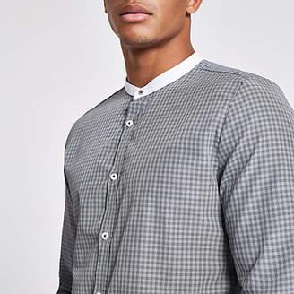 River Island Grey check slim fit grandad shirt