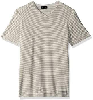 Velvet by Graham & Spencer Men's Velvet's V-Neck Short Sleeve Shirt in Stripe Pique