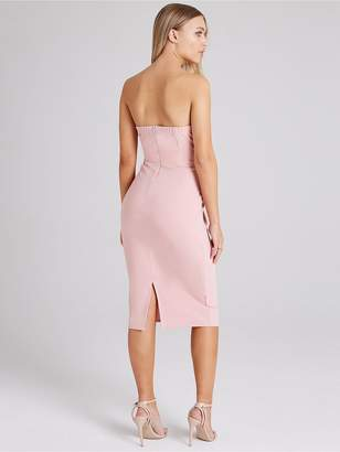 1197bade33a49d Girls On Film Frill Front Dusty Pink Bodycon Dress