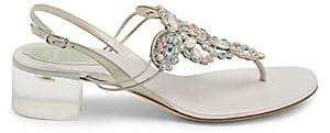 Rene Caovilla Women's Jewel Chrome Mid-Heel Sandals