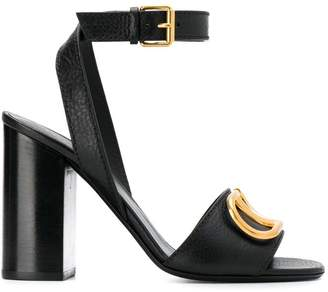 Valentino block heel logo sandals