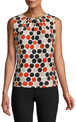 Calvin Klein Dot-Print Pleat-Neck Tank