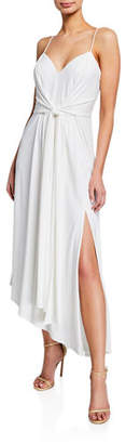 Aidan Mattox V-Neck Spaghetti-Strap Asymmetric Dress w/ Tie-Front Straps