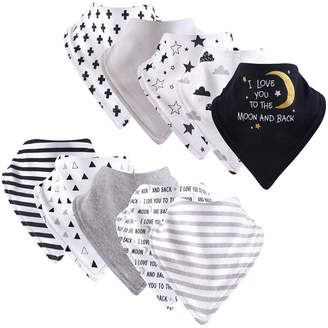 Baby Vision Hudson Baby Unisex Baby Cotton Bandana Bibs, Moon and Back 12-Pack, One Size