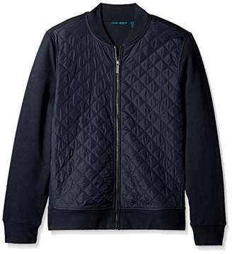 Perry Ellis Men's Quilted Mix Media Knit Jacket