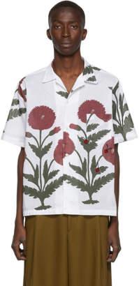 Bode White Chrysanthemum Bowling Shirt