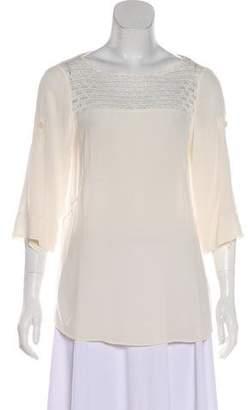 Akris Punto Silk Three-Quarter Sleeve Blouse