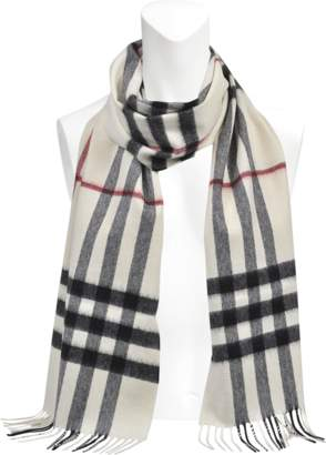 Burberry 168X130 Giant Icon Scarf in White Cashmere