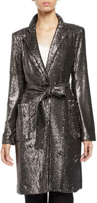 Nanette Lepore Sultana Sequin Self-Tie Coat