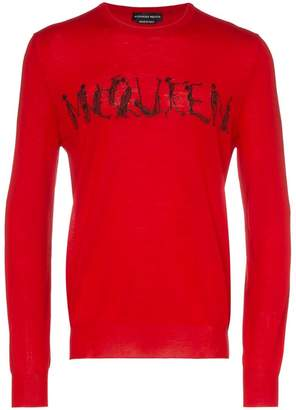 Alexander McQueen dancing skeleton logo text wool jumper